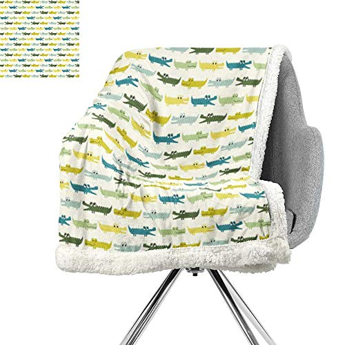 ScottDecor Kids Digital Printing Blanket,Crocodile Characters in Cartoon Style Funny Faces Animal Alligators Childish,Yellow Green Teal,Soft Premium Cotton Thermal Blanket W59xL31.5 ()