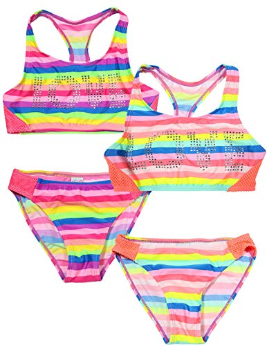 dELiA*s Girls' Colorful Summer Bikini Bathing Suits 2 Pack, Love Rhinestones, Size 5/6'