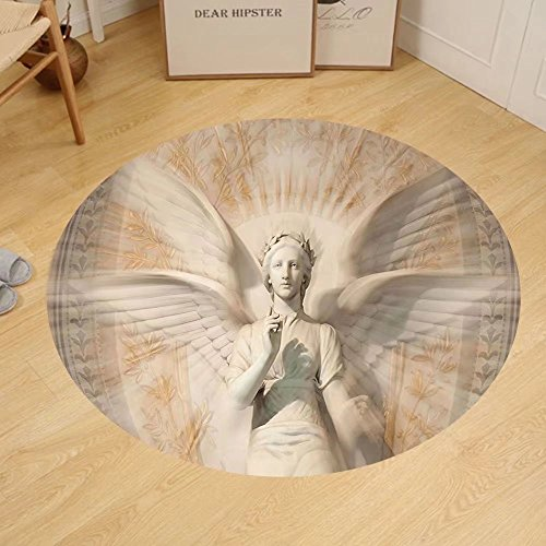 Gzhihine Custom round floor mat Sculptures Decor Statue Of Angel Woman in Medieval Holy Cathedral Vintage Style Myth Decoration Bedroom Living Room Dorm Decor Tan by Gzhihine