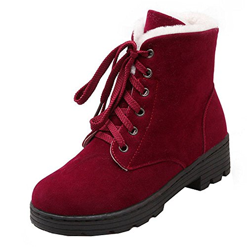 COOLCEPT Women's Fashion Warm Winter Flat Ankle High Boots Wine Red dJfeV4