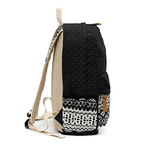 3PCS Schoolbag Women Bags Casual for Lightweight Set OURBAG Blue Black Navy Wallet Backpack Shoulder Girls Canvas xPzBqYI
