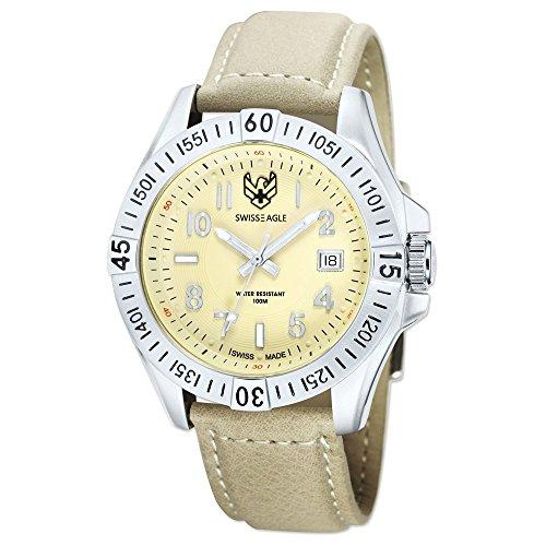 Mens Swiss Eagle Altitude 3 Hand/Date Beige Dial Watch