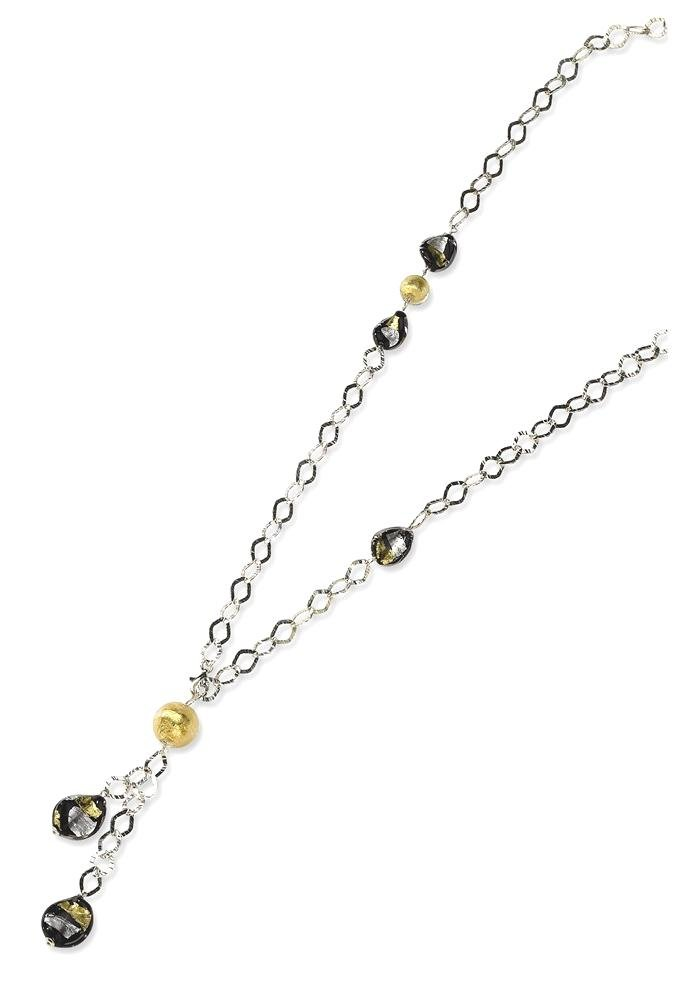 ICE CARATS 925 Sterling Silver Multi Murano Glass Bead Chain Necklace Station Fine Jewelry Gift Set For Women Heart
