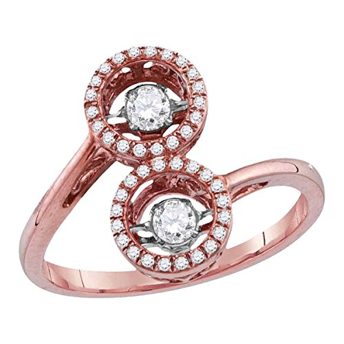 Round Diamond Motion Ring Solid 10k Rose Gold Fashion Band Moving Twinkle Circle OF Life Fancy 3/8 ctw by GemApex