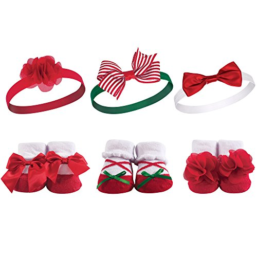 Hudson Baby Girls' Sock and Headband Giftset, Christmas Holly, 0-9 Months (Best Small Christmas Gifts)