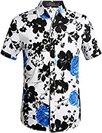 Men's Button Down Short Sleeve Hawaiian Style Tropical Shirt