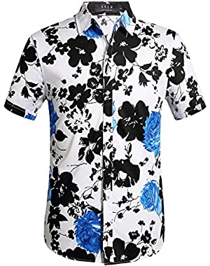 Men's Short Sleeve Tropical Button Down Hawaiian Shirt