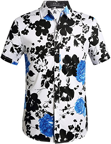 - SSLR Men's Cotton Button Down Short Sleeve Hawaiian Shirt (3X-Large, White Blue)