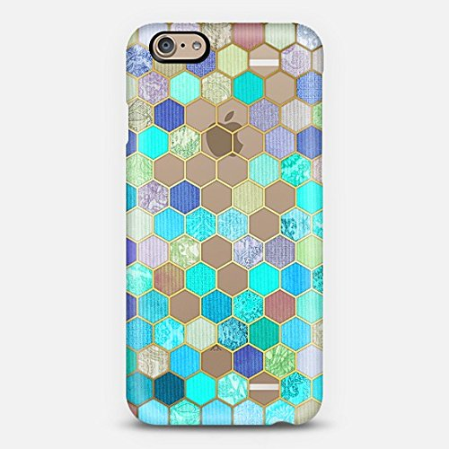 Casetify Turquoise & Purple Honeycomb Pattern iPhone 6 Case (Frosty White)