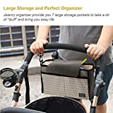 Stroller Organizer Bag, Jelanry Deep Cup Holder Fits All Kinds of Stroller, Keep iPhones Diapers Toyes Wallets Keys Books & iPads with Large Storage Space, Baby Shower Gift ( Cream )