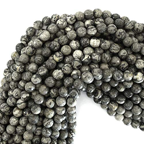 Faceted Gray Leopard Skin Jasper Round Beads 15