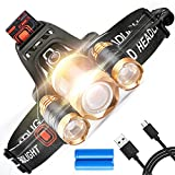 STCT Street Cat Brightest LED Rechargeable Headlamp, 5000 lumens 4 Modes Waterproof Headlight LED, CREE Headlamp Flashlight Zoomable 3 LEDs, Improved 18650 Batteries