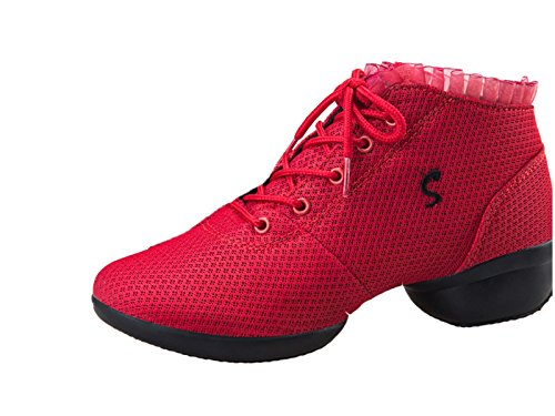 Red VECJUNIA Dance Lace Trainer Up Lace Shoes Ladies Dance r8rc6Bq