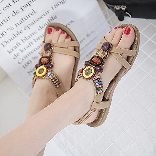 Sandals Feifei Women's Shoes Summer PU Material Ethnic Wind Rhinestone Flat Beach Beige Black Optional Beige HjrWfeX1