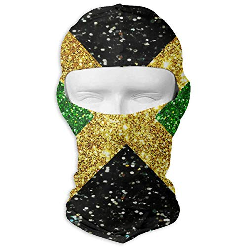 Leopoldson Shiny Jamaica Flag Proud Patriotic Balaclava UV Protection Windproof Ski Face Masks for Cycling Outdoor Sports Full Face Mask Breathable ()
