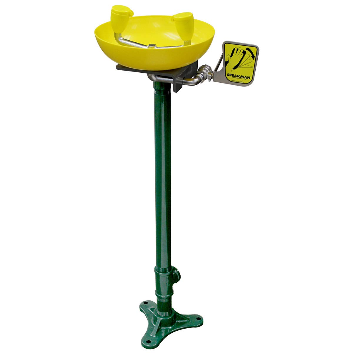 Speakman SE-496 Traditional Series Pedestal-Mounted Emergency Eye and Face Wash, Yellow
