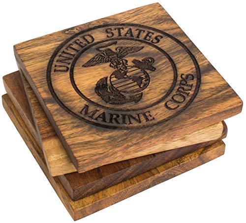 (USMC Emblem Drink Coasters - Engraved Acacia Wood United States Marine Corps Emblem Coaster Set with Eagle, Globe and Anchor Design - Set of Four)