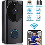 Tobfit Video Doorbell 720P HD 2.4G Wifi Wireless Smart Door Bell Home Security Camera with PIR Motion Detection, Two-Way Talk & Video, Infrared Night Vision for iOS and Android App Control (Black)