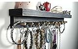 Wall Mount Jewelry Organizer Jewelry Holder with Shelf, Vinyl Coated Hooks & Wood Pegs. Necklace, Earring, Bracelet, Bangle, Ring Holder. Weathered Dark Gray.