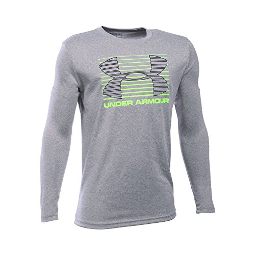 Under Armour Boys' Breakthrough Logo Long Sleeve T-Shirt, True Gray Heather/Fuel Green, Youth X-Large