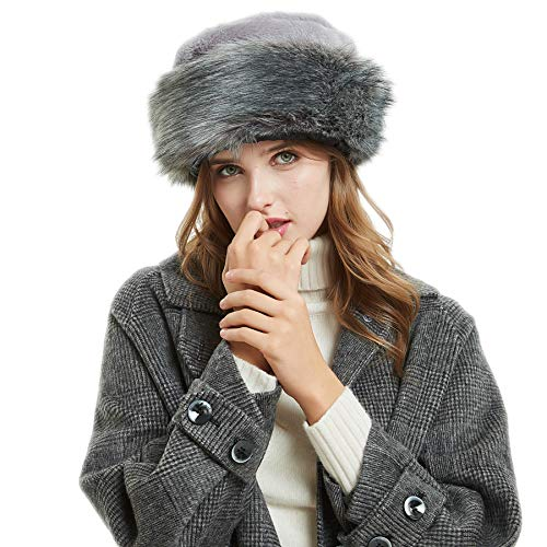 3afed526 Soul Young Women's Leopard Faux Fur Hat with Fleece and Elastic for Winter