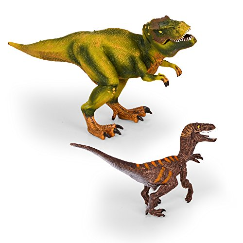 "Kids Imaginative Dinosaurs Small & Large Plastic Assorted Toy Dinosaurs | Tyrannosarus Rex (T-Rex) & Velociraptor | 2 Piece Set, 6.2"" - 10.2"" 