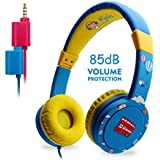Kids Headphones, EasySMX On-Ear Headset Wired Foldable 85dB Volume Limited with Mic Headphone Splitter 3.5mm Jack In-line Control Children Headphones (Blue)