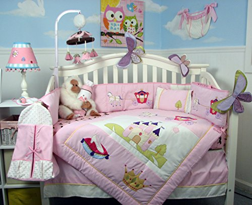 SOHO Royal Princess Nursery Bedding Set with Diaper Bag 14 pcs (Bumper & Comforter are Reversable)