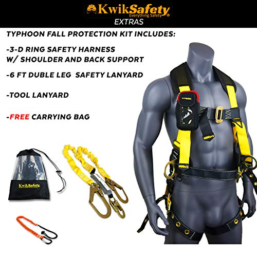 KwikSafety (Charlotte, NC) TYPHOON COMBO   3D Full Body Tongue Buckle w/Back Support Safety Harness, Bolt Pouch, 6' Lanyard, Tool Strap, ANSI PPE Fall Protection Equipment Construction Bucket by KwikSafety (Image #2)
