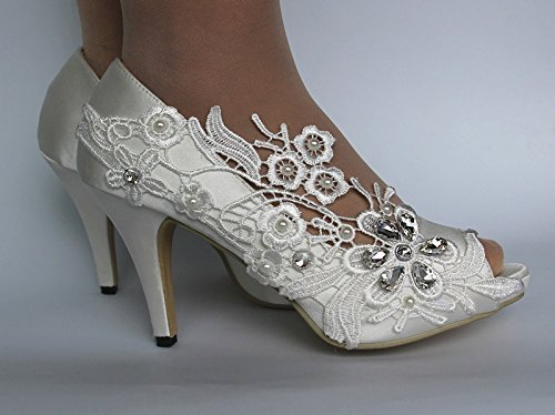 "3"" heel satin white ivory lace pearls open toe Wedding shoes bride size 5-9.5"