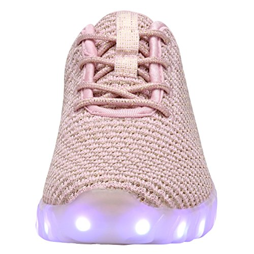 COODO LED leuchten Schuhe für Frauen Kinder Mädchen blinkende Glitter Turnschuhe (Kleinkind / Kind / Frauen) 4-Rosa