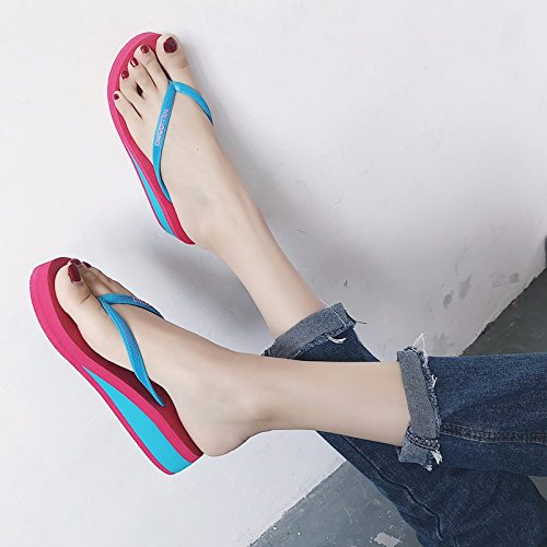 XIAOGEGE nuevo rutschfeste El coreano la en Rosa de verano moda de el calzado zapatillas calzado cara con femenino flops espesura relación de tipo flip trtqZwd
