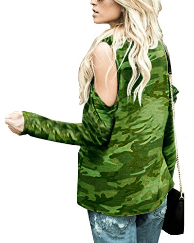 paule Casual Tunique Tops Haut Profond et Manches Shirts Camouflage Fashion Dnude Rond de Les T Blouses Longues Vert Jours Femme Col Printemps Tous Automne t4w10q0