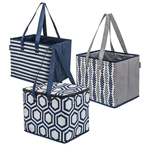 Planet E Reusable Grocery Shopping Bags - 2 Large Collapsible Boxes & 1 Large Collapsible Insulated zippered Cooler with Reinforced Bottoms Made of Recycled Plastic (Pack of 3)
