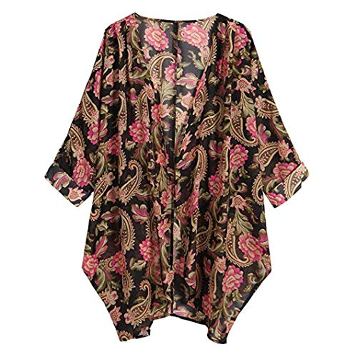 TOPUNDER Casual Floral Print Long Sleeve Chiffon Cardigan for Womens Loose Kimono ()