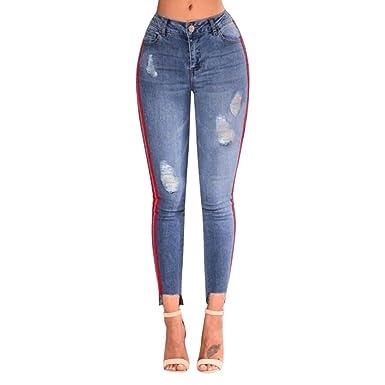 32d5adffab6 ADESHOP Femmes Extensible Trou Taille Haute du Trou Denim DéChiré Crayon  Pantalons Trou LatéRal Taille Haute