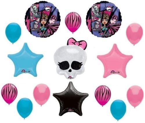 loonballoon Monster HighバッジSkullette Zebra星誕生日パーティー( 15 )バルーンキットセットB   B01FTXP8C2