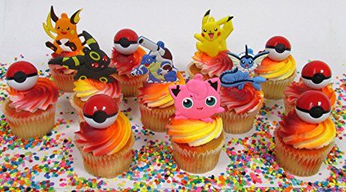Pikachu and Friends Cupcake Topper Set with 6 Random Pocketmonster Characters and 6 Poke Balls -