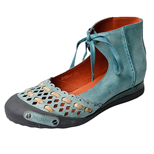Mordenmiss Women's Summer Lace up Handmade Genuine Leather Sandal Green 36 -