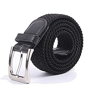 Canvas Elastic Fabric Woven Stretch Multicolored Braided Belts 2041-Black-S