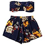 DEZZAL Women's Boho Floral Print Two Piece Bowknot Tube Top and Mini Shorts Set (Navy Blue, XL)