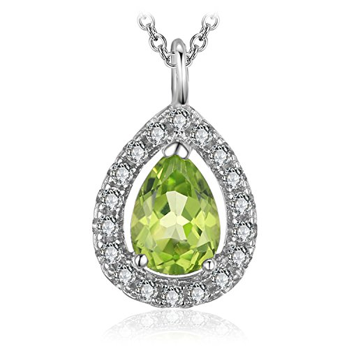JewelryPalace Women's Pear 0.8ct Natural Peridot 925 Sterling Silver Solitaire Pendant Necklace 18