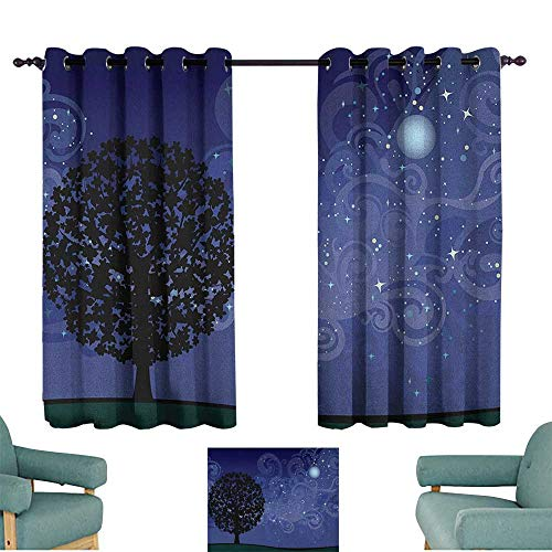 (WinfreyDecor Starry Night Fresh Curtains Tree on a Hill with Star Filled Sky and Moon Milky Way Galaxy for Living, Dining, Bedroom (Pair) 63