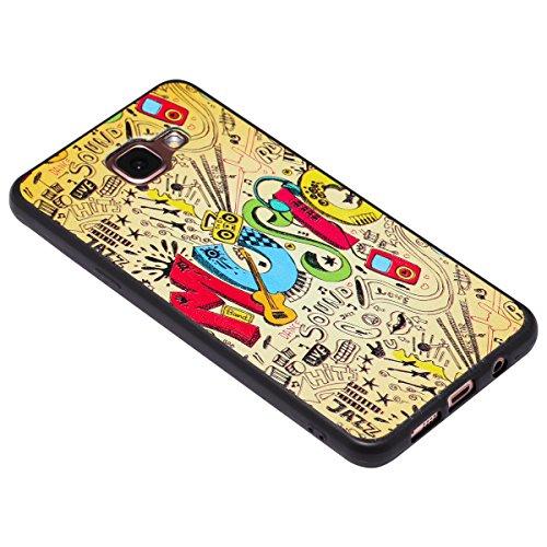 Funda Samsung Galaxy A5 2016,SainCat Moda Alta Calidad suave TPU Silicona Suave Funda Carcasa Caso Parachoques relieve Diseño pintado Patrón para Carcasas Samsung Galaxy A5 2016 Fondo negro 3D TPU Sil Música dinámica