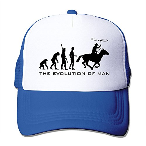 [Evolution Cowboy B Mesh Fitted Trucker Baseball Cap RoyalBlue] (Sheriff Hats For Sale)