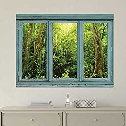 wall26 Vintage Teal Window Looking Out Into a Green Jungle - Wall Mural, Removable Sticker, Home Decor - 36x48 inches