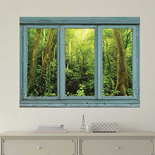 Cheap  wall26 Vintage Teal Window Looking Out Into a Green Jungle - Wall..