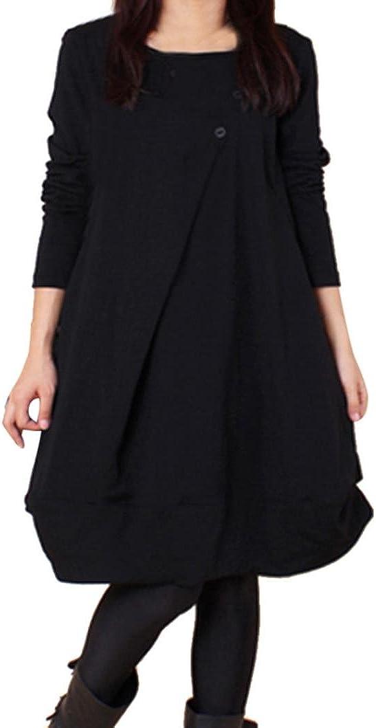 TALLA XL. OverDose Vestidos Mujer sólido Flojo Manga Larga Casual Fiesta M-XXL Negro