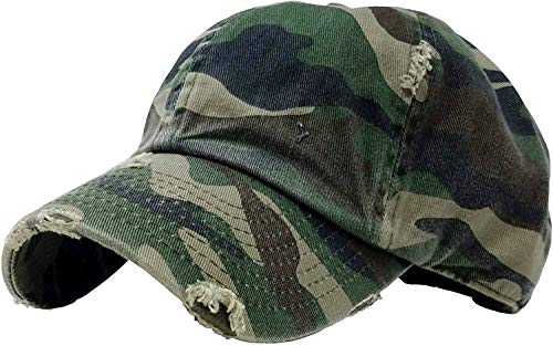 (H-218-D8433 Distressed Dad Hat Vintage Low Profile Baseball Cap - Green Camo)