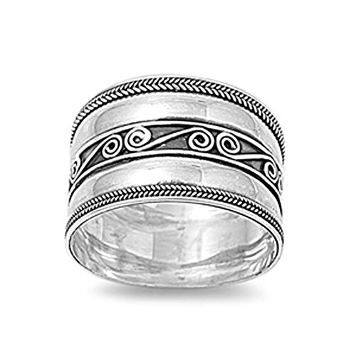 Sterling Silver Bali Rope (Sterling Silver Women's Bali Rope Ring Wide 925 Band Swirl Center New Size 10)